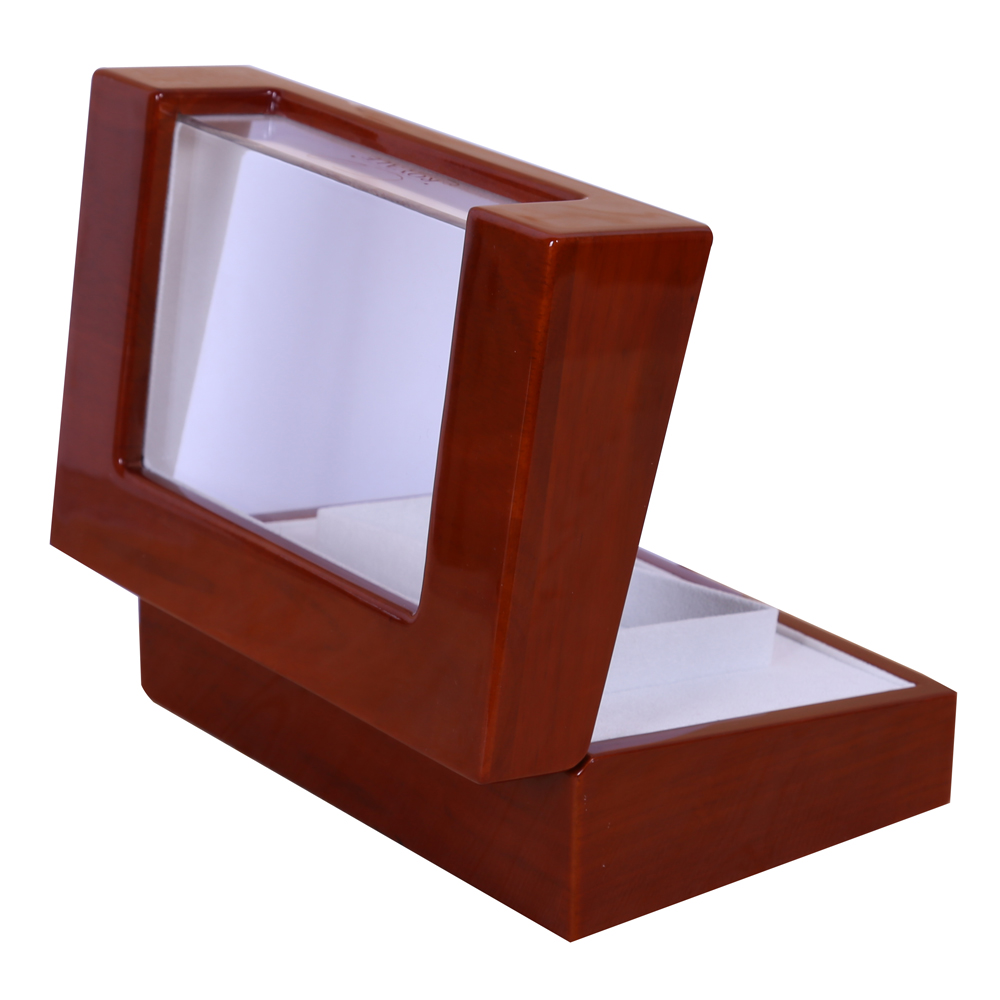 Glossy Lacquered Wood Box with Acrylic W